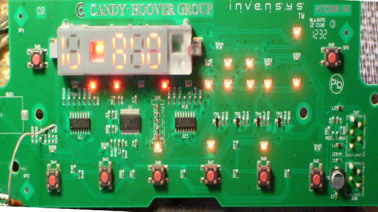 Проблема с панелью CMA Hoover WDYN854DG, думаю нужен дамп PIC16F722A